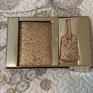 Coach Gold Glitter Passport Wallet & Luggage Tag
